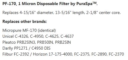 pf170 replaces other brand cartridge filters